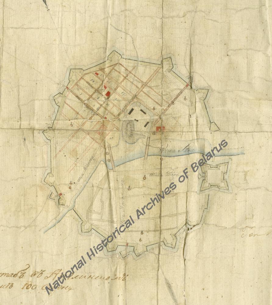 План Слуцка з адлюстраваннем праекта перапланіроўкі спаленай часткі горада. Складальнік: геаметр Я. Саковіч.