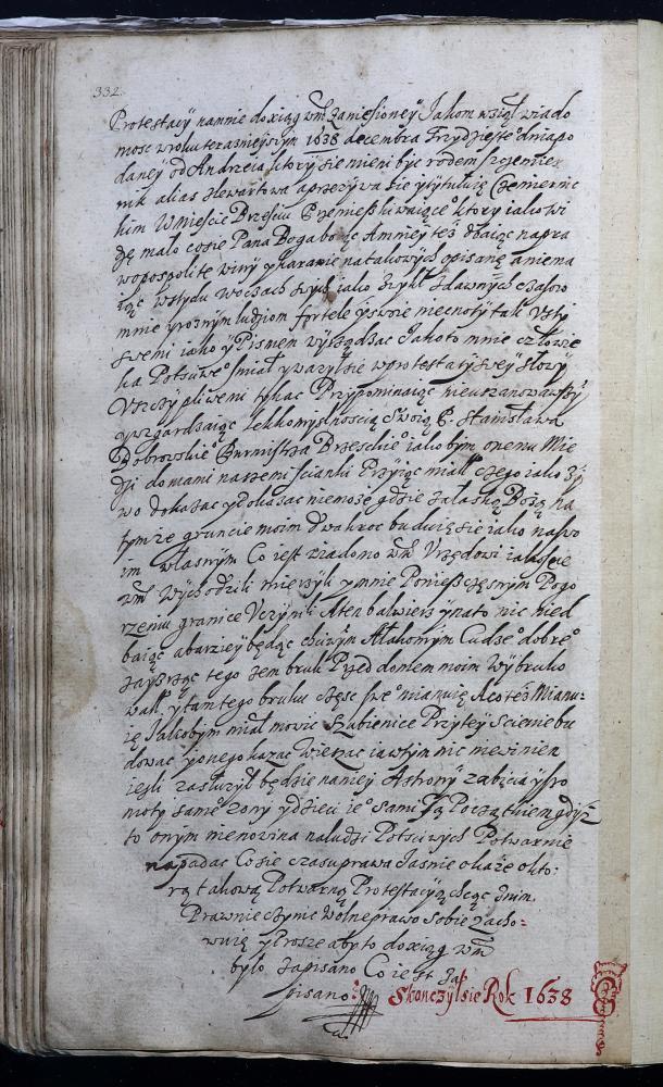 Запіс на заканчэнне пасяджэнняў Берасцейскага магістрата за 1638 год (польская мова)