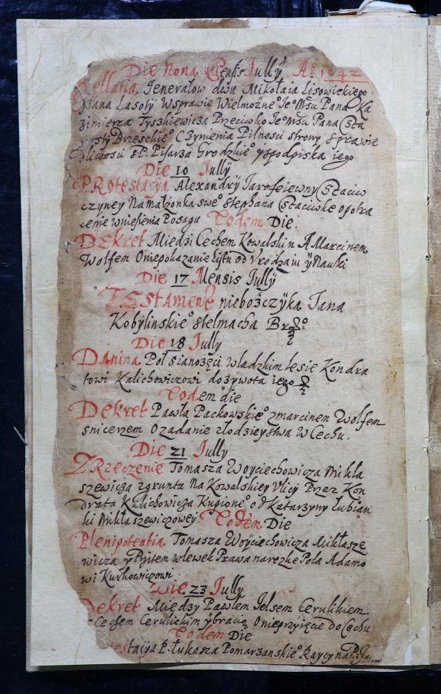 Рэестр спраў актавай кнігі Берасцейскага магістрата за 1642–1644 гады (польская мова)