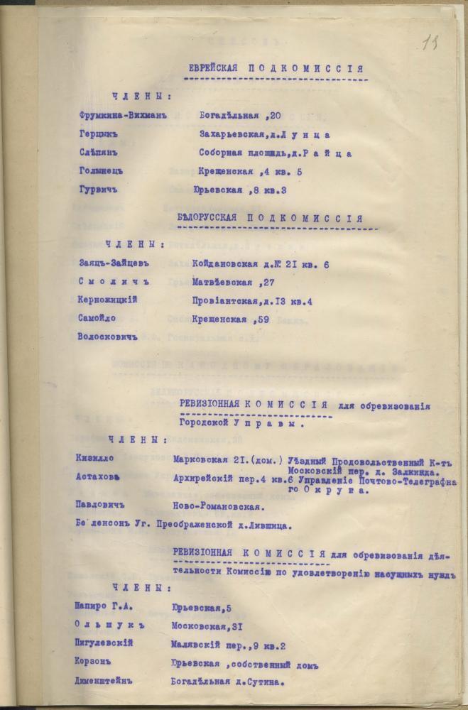 Склад розных камісій Мінскай гарадской думы, у тым ліку і беларускіх падкамісій