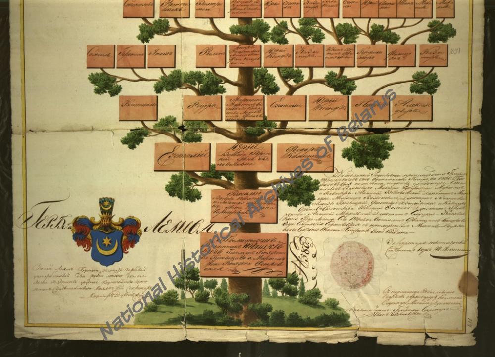 Копия генеалогической таблицы дворянского рода графов Тышкевичей герба «Лелива»