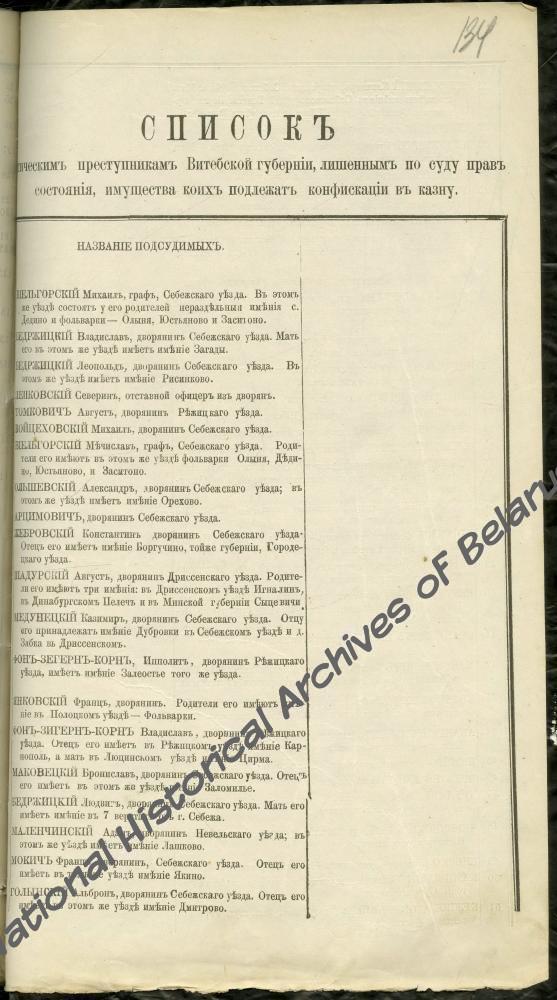Список политических преступников Витебской губернии, имущество которых подлежит конфискации, где под № 30 указан Иван Черский, дворянин Дриссенского уезда