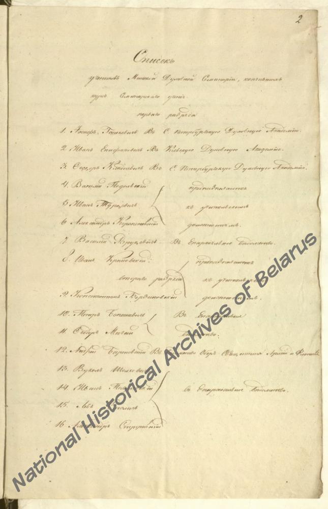 Список учеников Минской духовной семинарии, окончивших курс обучения, где указан Иосиф Гошкевич, направленный в С.-Петербургскую духовную академию