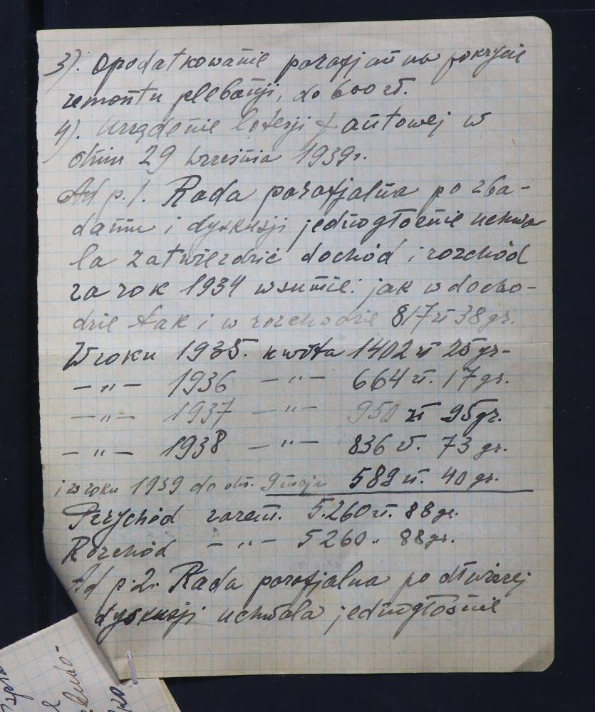 Пратаколы паседжанняў парафіяльная рады пры Багданаўскім касцёле за 1938—1939 гады