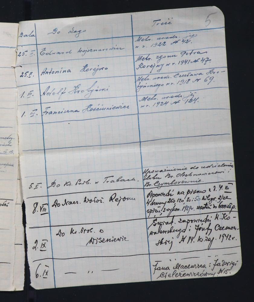 Журнал рэгістрацыі ўваходзячых і сыходзячых дакументаў Багданаўскага касцёла за 1942 год