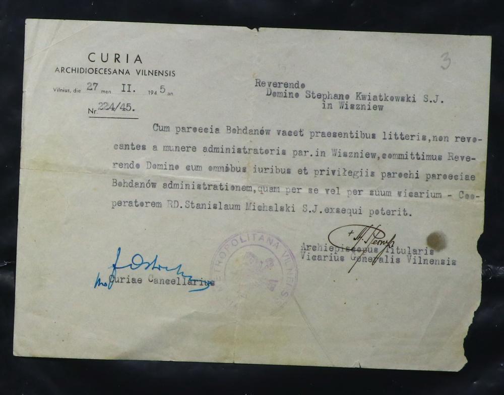Распараджэнне Віленскай курыі ад 27 лістапада 1945 года аб наданні права пробашчу Вішнеўскага касцёла выконваць функцыю адміністратара Багданаўскай парафіі