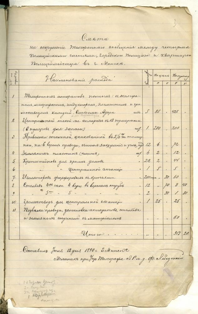 Рахунак на стварэнне тэлефоннай сувязі паміж паліцэйскімі часткамі, гарадской паліцыяй і кватэрай паліцмайстара ў горадзе Мінску ад 12 ліпеня 1890 года