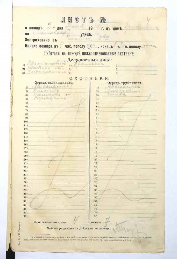 Листы Минского вольного пожарного общества о пожарах в Минске и талоны для контроля